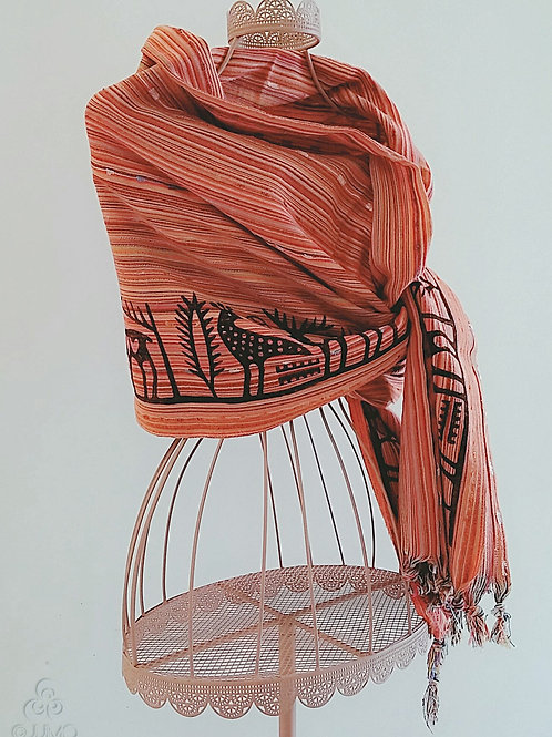 Orange Turkish Shawl Hand Block Printed Black Anatolian Ethnic Motifs