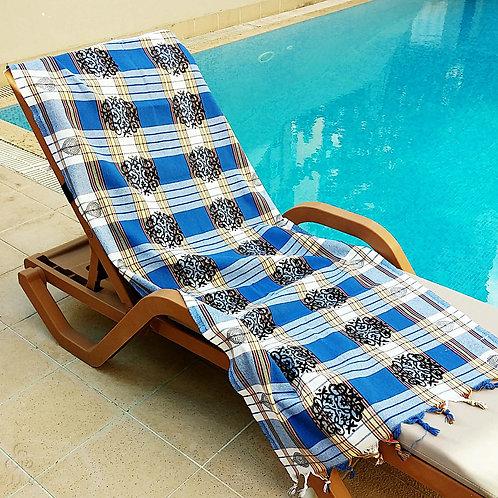 Blue White Plaid Turkish Peshtemal Towel Ottoman Motifs White Fringes