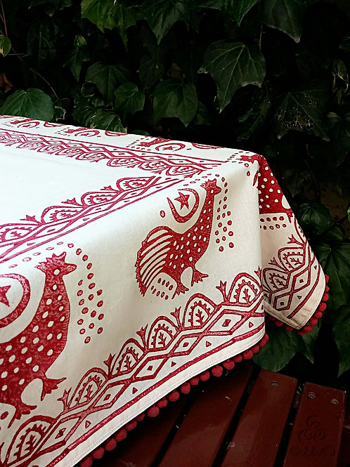 Ivory Turkish Tablecloth Chocolate Brown Anatolian Rooster Motifs And Pom-Poms