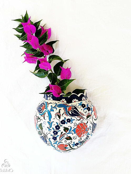 Iznik Ceramic Wall Sconce Vase Red Blue Ottoman Floral Motifs