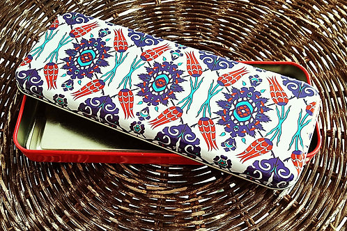 Set of 2 Tin Box Storage Red Blue and Turquoise Blue Ottoman Floral Motifs