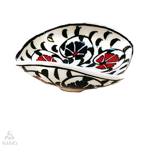 Iznik Ceramic Soap Dish Red Blue Ottoman Carnation Motifs