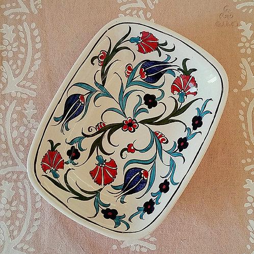Iznik Ceramic Large Serving Dish Red Blue Ottoman Floral Motifs