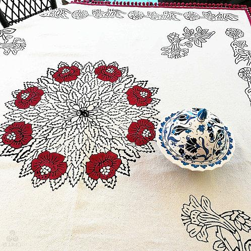 Ivory Turkish Tablecloth Black Floral Motifs Burgundy Pom Poms