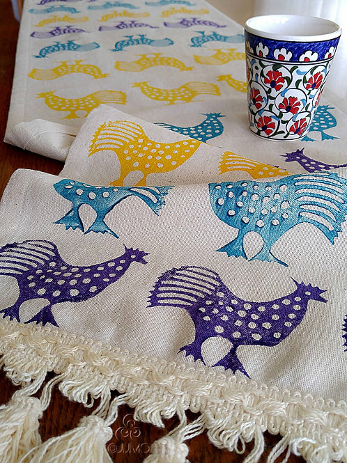 Multicolor Hand Block Printed Cream Table Runner with Tassels