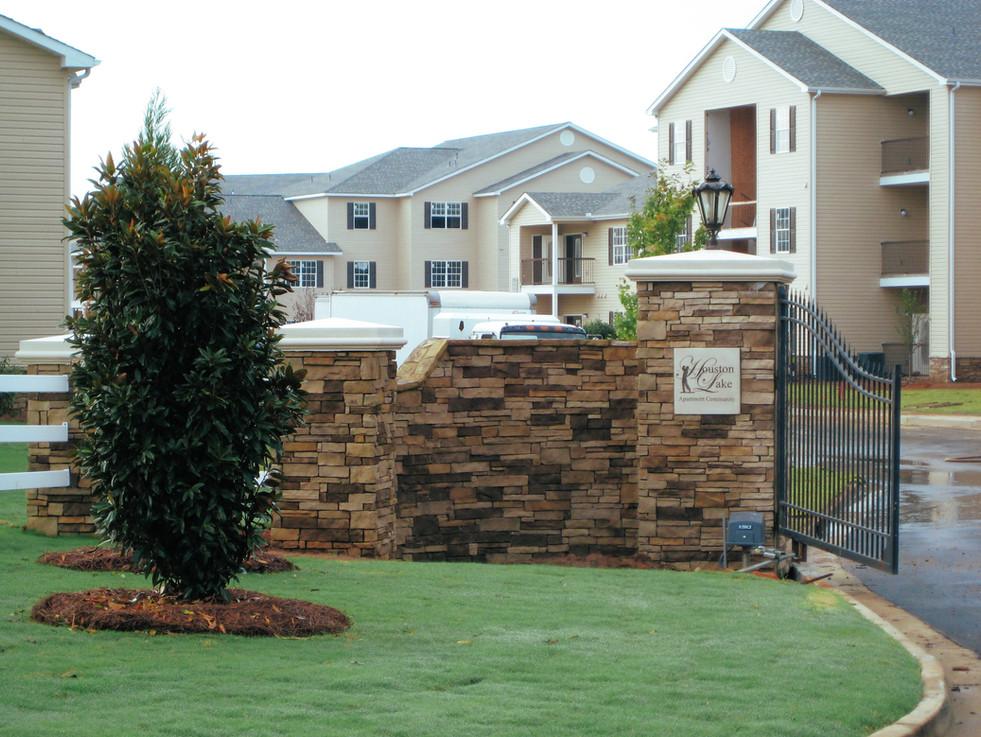 Apartment Complex Stone Front Gate