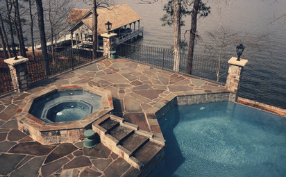 Lakeside Pool with Stone Patio