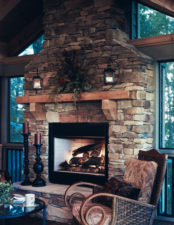 Rustic Living Room Stone Fireplace