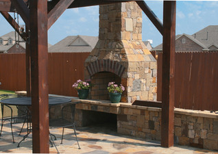 Outdoor Fireplace Patio with Pergola