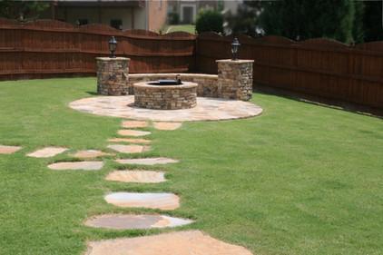 Backyard Stone Firepit wtih Pavers
