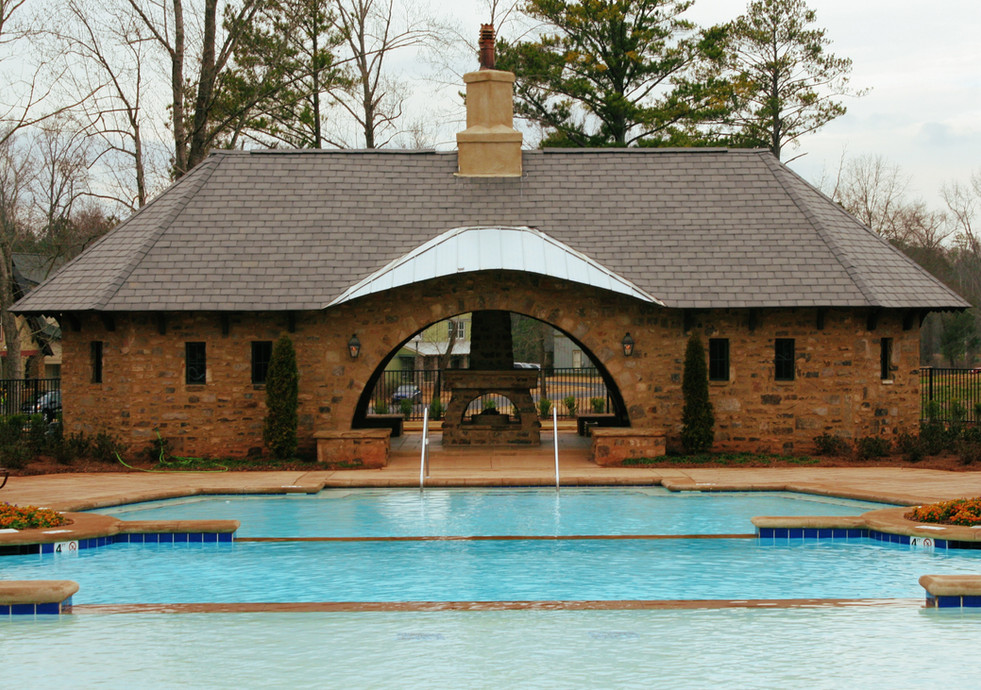 Community Poolhouse with Stone Fireplace