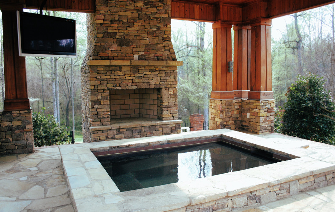 Outdoor Fireplace with Jacuzzi TV