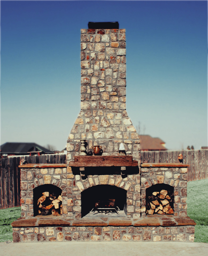 Large Fireplace Outdoor Beam Mantle Ston