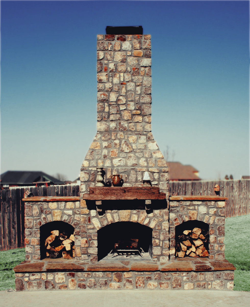 Backyard Stone Outdoor Fireplace
