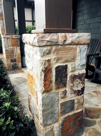 Stone Column Base with Patio