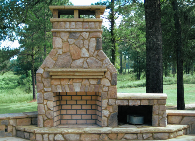 Natural Stone Fireplace in Private