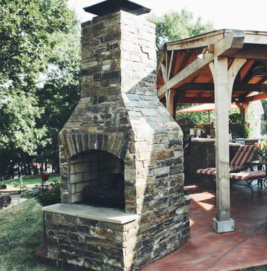 Outdoor Fireplace Pergola Patio Kitchen