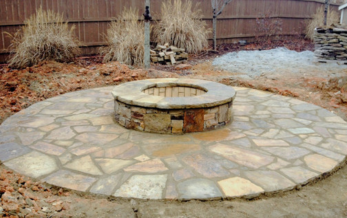 Stone Firepit with Circular Patio
