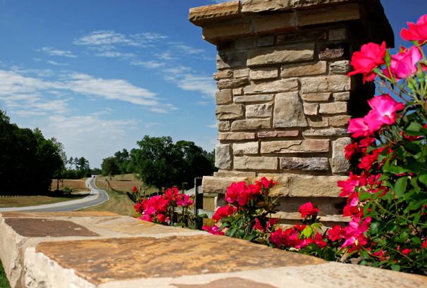 Stone Pillar in a Garden