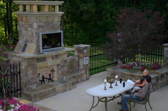 TV Outdoor Fireplace Patio Planters Ston