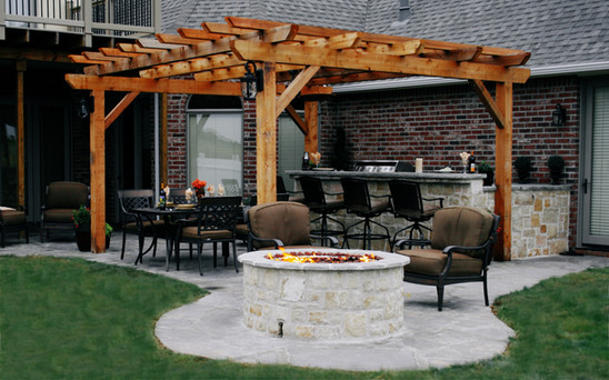Stone Patio Firepit Kitchen and Pergola