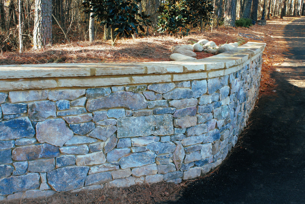 Fieldstone Driveway Retaining Wall