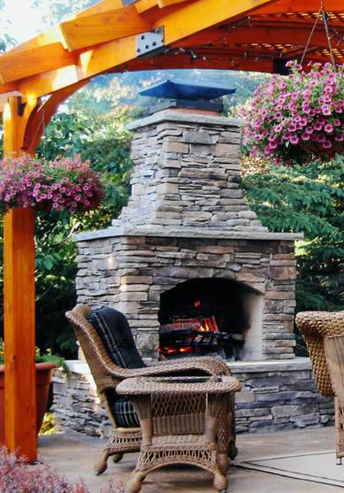 Cozy Outdoor Fireplace and Pergola