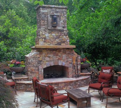 Elegant Stone Outdoor Fireplace Patio