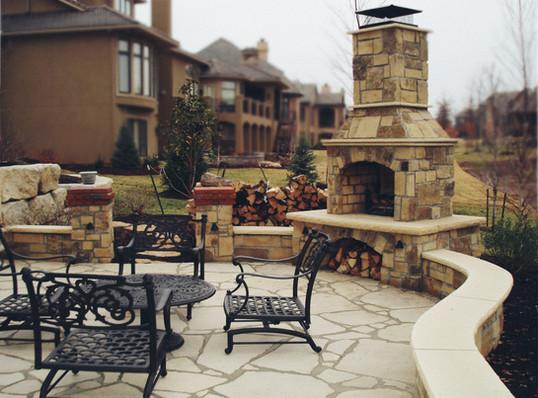 Backyard Stone Fireplace and Patio