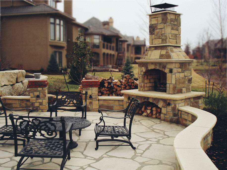 Backyard Stone Fireplace and Patio