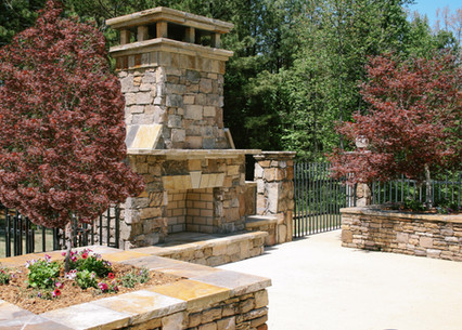 Stone Fireplace and Raised Planters