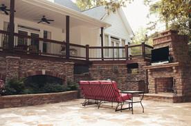 Backyard Deck and Stone Patio