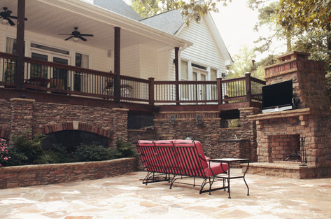 Backyard Deck and Stone Patio