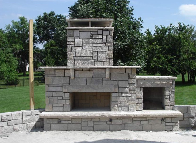 Modern Stone Fireplace and Patio