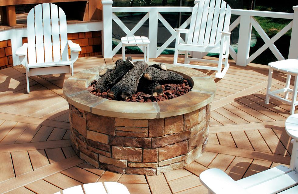 Stone Firepit Addition on Deck