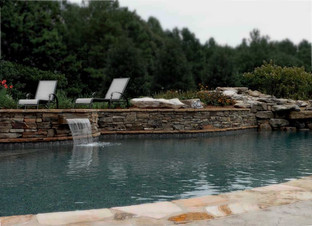 Stone Pool Trim with Waterfall