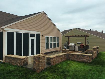 Backyard Stone Patio and Kitchen