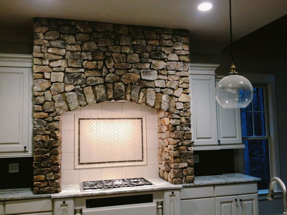 Stone Veneer on Kitchen Vent Hood
