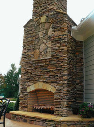 Large Natural Stone Outdoor Firplace