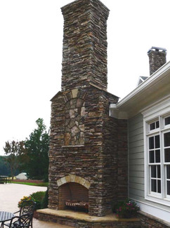 Large Natural Stone Outdoor Fireplace