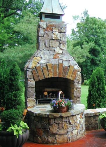 Custom Rustic Natural Stone Fireplace