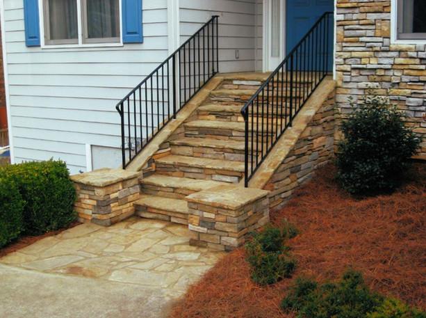 Simple Stone Veneer Stairway