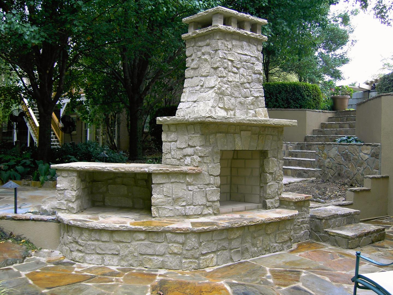 Outdoor Fireplace Patio Stone Block Bric