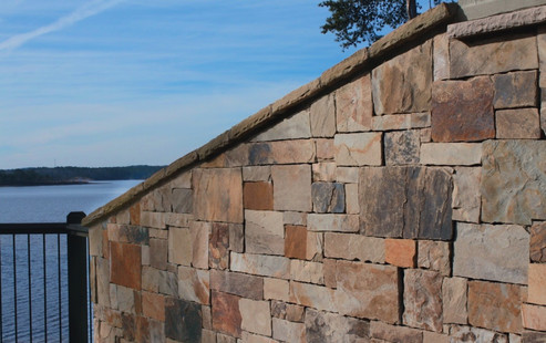 Block Retaining Wall on a Lake