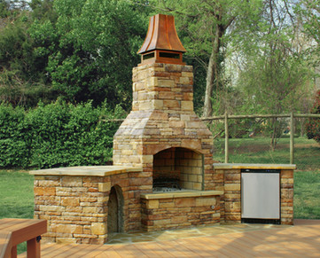 Outdoor Stone Fireplace with Refrigerator