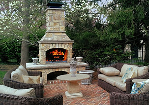 Outdoor Stone Fireplace Blazing