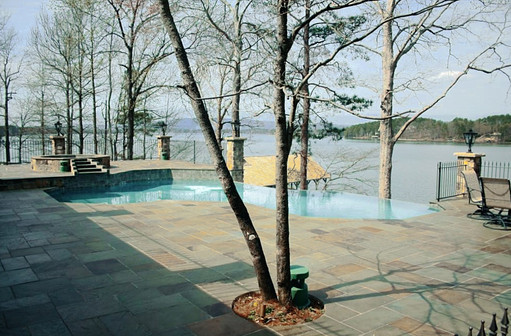 Pool's Paver Patio Overlooking Lake