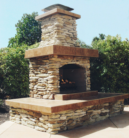 Natural Stone Slab Outdoor Fireplace