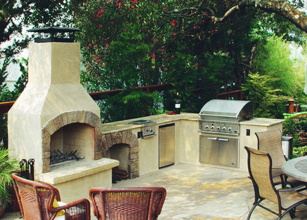Outdoor Kitchen with Fireplace Patio