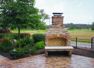Freestanding Outdoor Fireplace on Patio